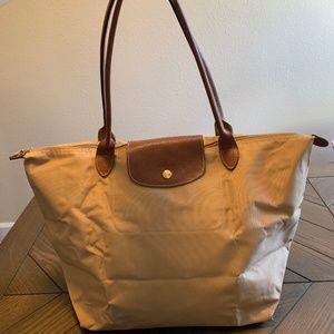Longchamp Camel Large Nylon Long Handle Tote Bag